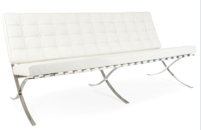 Hover To Zoom; Barcelona Three Seater White Leather Sofa
