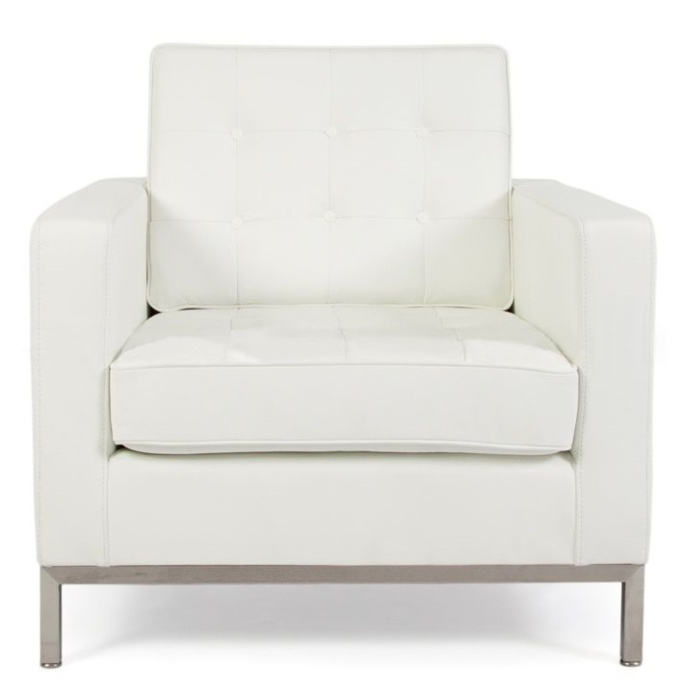 Charmant ... Florence Knoll Armchair In White Leather Front View
