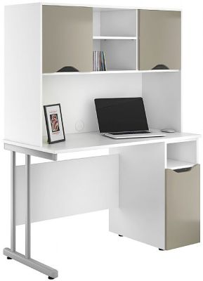 UCLIC Create Reflections Pedestal Desk with Overhead Cupboard