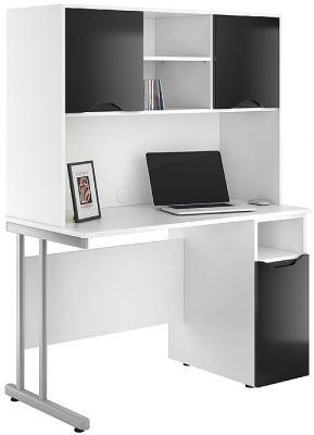 UCLIC Create Reflections Cupbaotrd Desk And Cupboards With High Glosss Balck Fronts