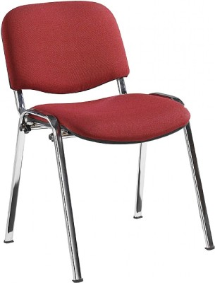 Stakkka Conference Chair Red Fabric Chrome Frame