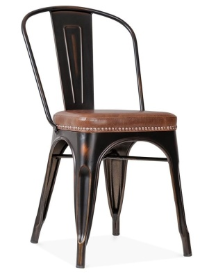 Xavier Pauchard Distressed Copper Side Chair - Leather Seat