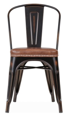Xavier Pauchard Chair In Distrssed Copper With A Brown Leather Seat Front View