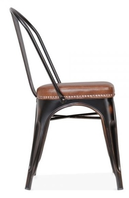 Xavier Pauchard Side Chair In Distressed Copper With A Brown Leather Seat Side View