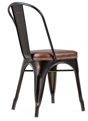 Xavier Pauchard Dining Chair In Distressed Copper With A Brown Leather Seat Rear Angle