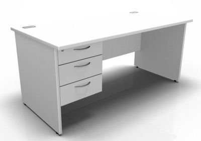 Pedestal Desk With Panel Wides In White