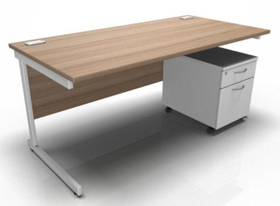 Stellar Rectangular Desk With Mobile Pedestal Cantilever
