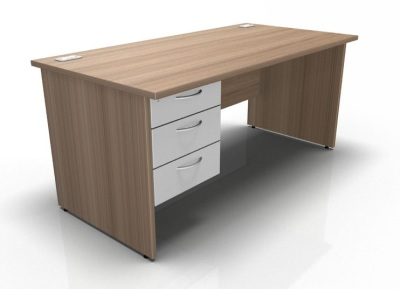Fixed Pedestal Desk With Panel Wides In Birch & White