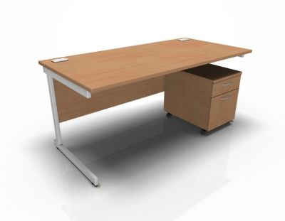 Stellar Rectangular Desk With 2dr Mobile Pedestal - Beech