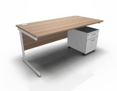 Stellar Rectangular Desk With 2dr Mobile Pedestal - Birch & White