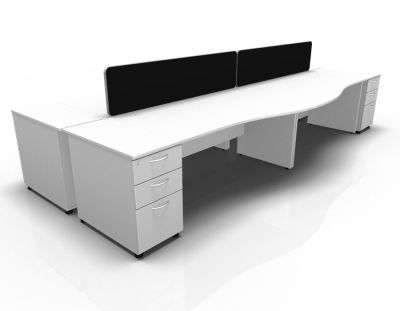Stellar Wave Desk Panel Ends Desk High Ped White