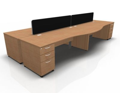 Stellar Wave Desk Panel Ends Desk High Ped Beech