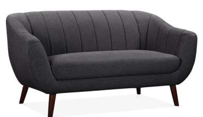 Hover To Zoom; Blake Two Seater Sofa Dark Grey Upholstery Angle View