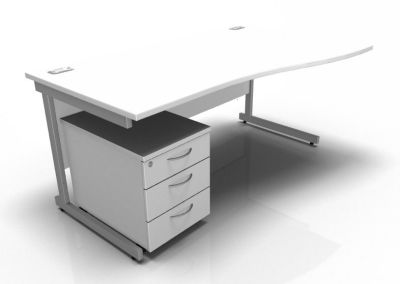 Stella Right Hand Wave Desk And Pedestal In White