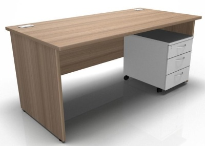 Stellar Rectangular Desk With Panel Sides And Mobile Pedestal