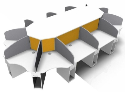 Corex 12 Person Desk White & Grey