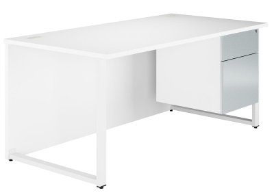 Dual Bench Desk With Blue Metallic Drawer