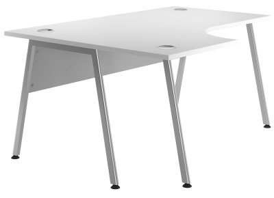Spectrum Left Hand Corner Desk With A White Top And Silver Frame