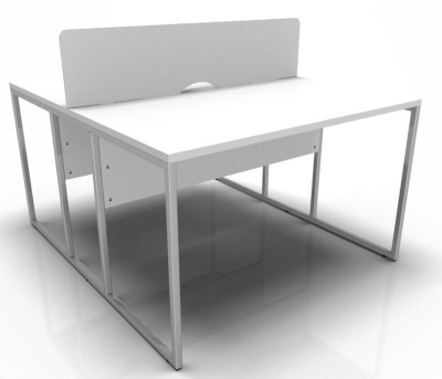 Stricto Two Person Banch Desk In White With Chrome Frame And Screen