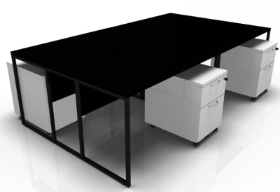 Stricto Four Person Bench In BLack With White Pedestals