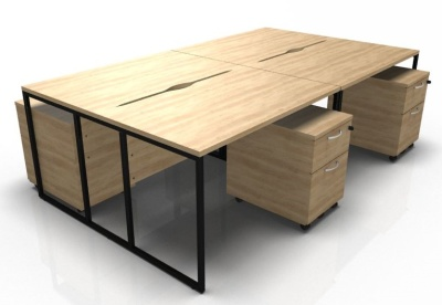 Stricto Four Person Bench Desk And Mobile Pedestalsl In Oak With A Black Frame