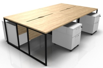 Stricto Four Person Bench In Oalk With A Black Frame And White Pedestals