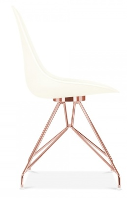 Hover To Zoom; Valon Chair With Off White Shell And Copper Frame Side View