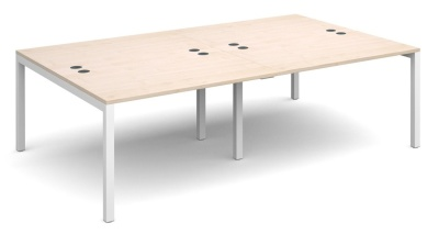 Squest Four Person Bencg Desk Wit A Maple Top Anmd White Frame