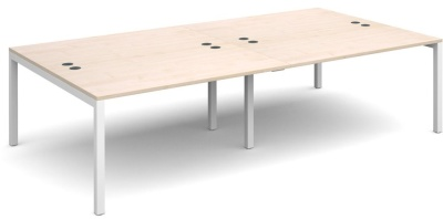 Sequest Four Person Bench Desk With Maple Tops And A White Frame