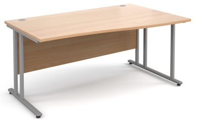 Momentum Right Hand Wave Desk With A Beech Top And Silver Frame