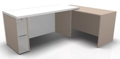 Desk Combination 11 Userside Side Slimline Ped Righthand Return White Clay