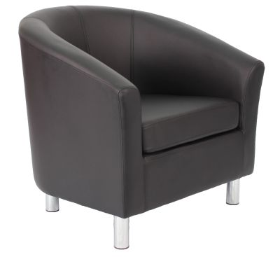 TRitium V2 Tub Chair In Black Leather With Chrome Feet Angle View