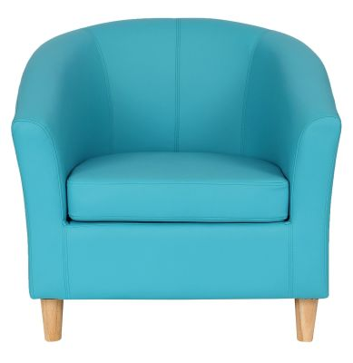 Genial Tritium Light Blue Leather Tub Chair With Wooden Feet Front View