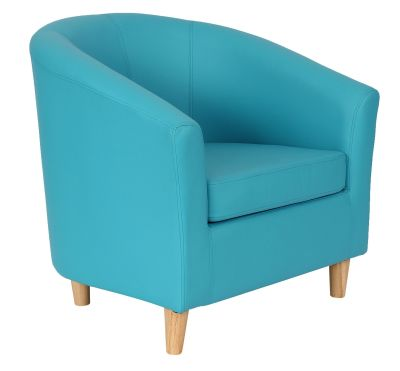 Tritium Light Blue Leather Tyub Chair With Wooden Feet Front Angle View
