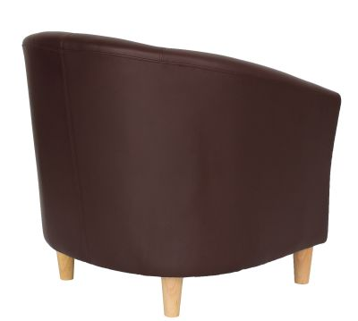 Tritium Brown Tub Chair With Wooden Feet Rear Angle