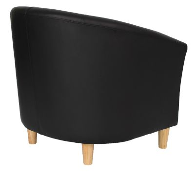 Tritium Black Leather Tub Chair With Wooden Legs Rear Angle View