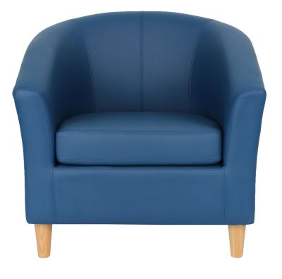 Tritium Navy Blue Tub Chairs With Wooden Feet Front View