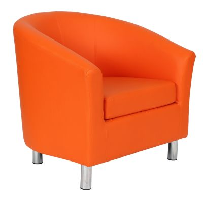 Tritium Orange Leather Tub Chair With Chrome Feet Front Angle View
