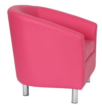 Tritium Pink Leather Tub Chair With Chrome Feet Side View