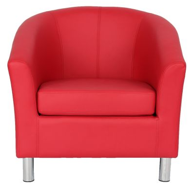Tritium Red Leather Tub Chair With Chrome Feet Front View