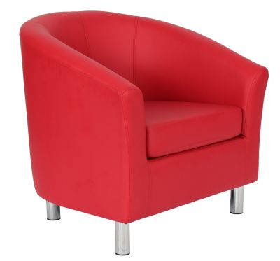 Tritium Red Leather Tub Chair With Chrome Feet Front Angle