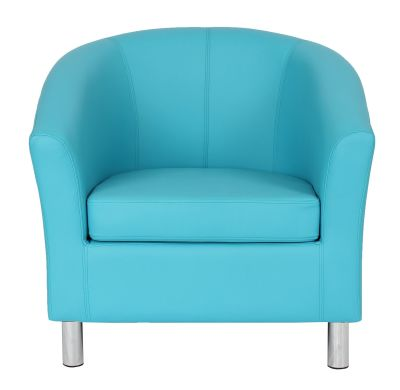 Tritium Light Blue Leather Tub Chairs Front View
