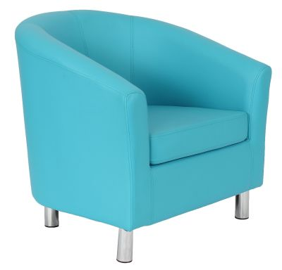 Tritium Faux Leather Tub Chairs With Chrome Feet In Light Blue Front Angle