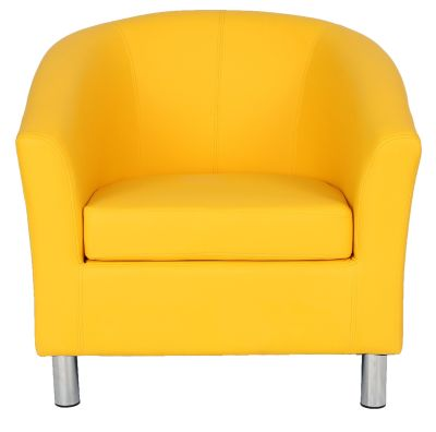Tritium Tub Chair In Yellow With Chrome Feet Front View
