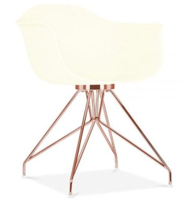 Memot Designer Chair With An Off White Shell And Copper Frame Front Angle