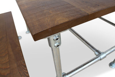 Scaffold Sawn Timber Dining Set Detail Shot