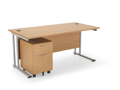 Flite Rectangular Desk And Two Drawer Mobile Pedestal