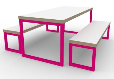 Toby Bench Dining Set Pink