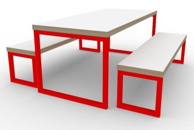 Toby Bench Dining Set Red