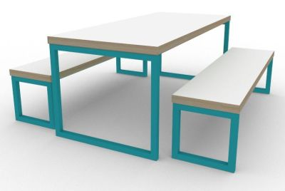 Toby Bench Dining Set Turquoise